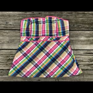 Lilly Pulitzer Strapless Top Plaid Sz 8
